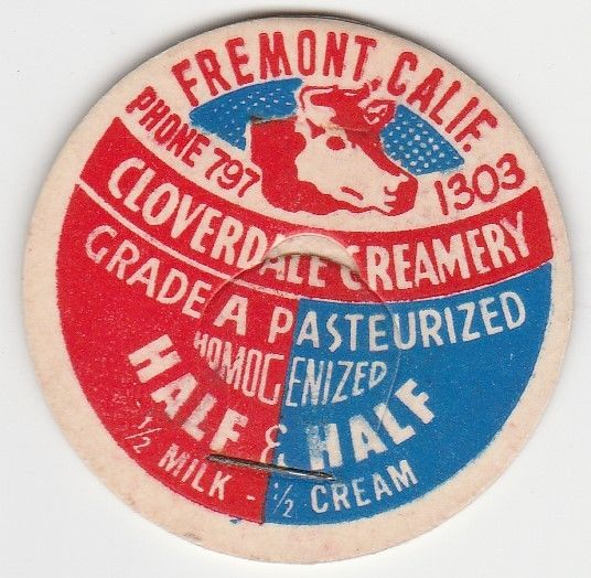 A milk bottle cap from the Creamery. In addition to milk, Cloverdale began making ice cream in 1948 (Ebay user Jas333).