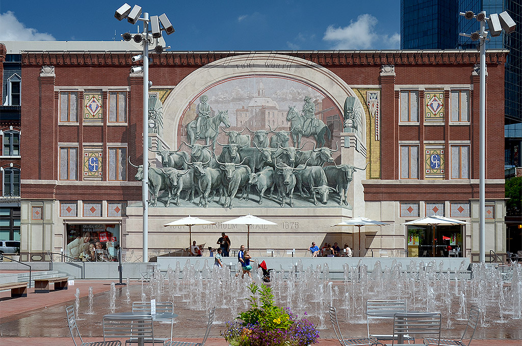 Chisholm Trail Mural from Sundance Square Plaza