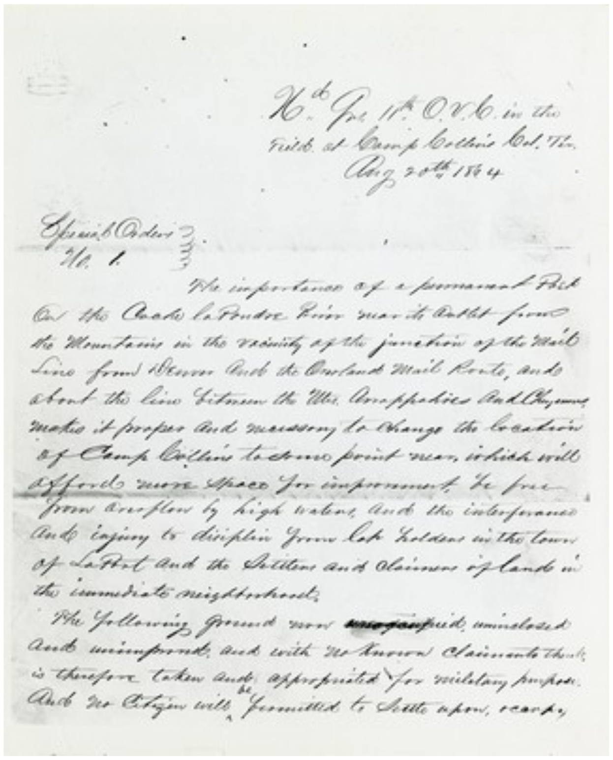 Special Order Number 1, officially designating Fort Collins as a military reservation, August 20, 1864