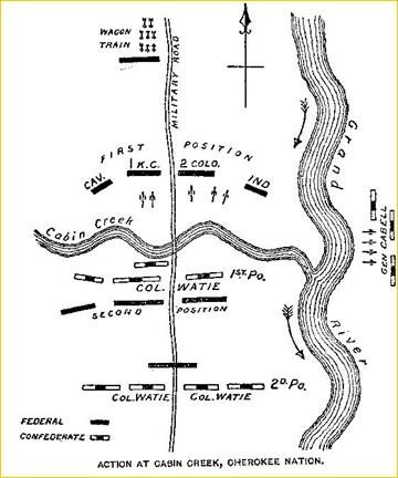 The positions of the Union and Confederate installments during both battles at Cabin Creek.