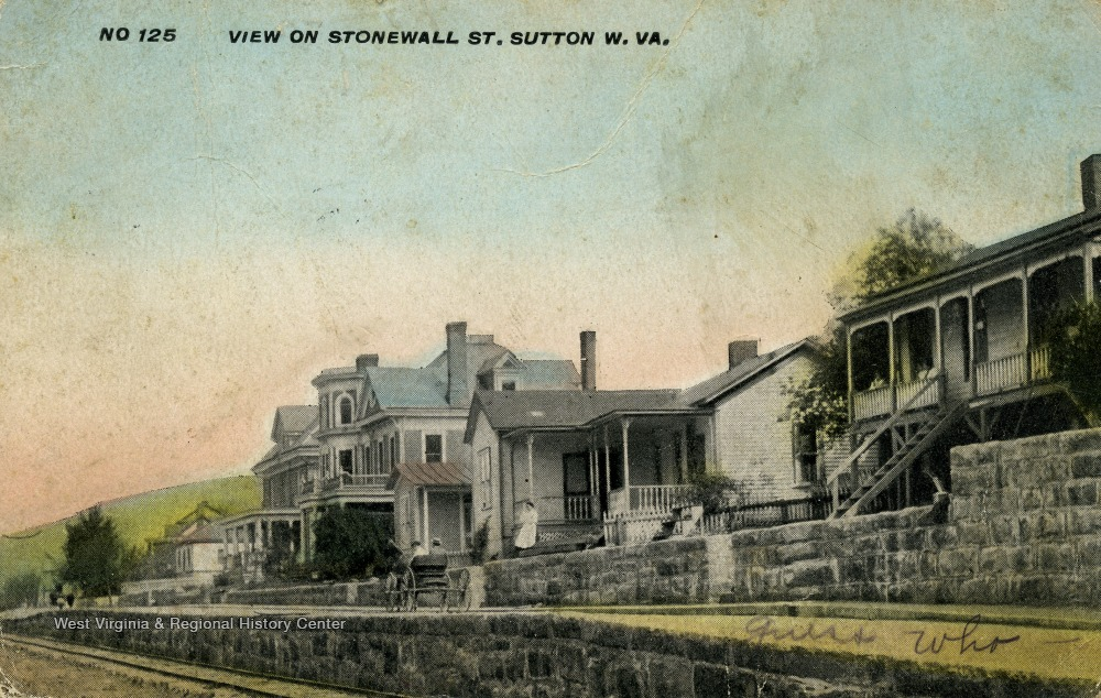 Photo postcard of Stonewall Street in Sutton, ca. 1910. The Haymond house can be seen at center left.