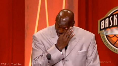 During his speech, Jordan was tearing up shedding tears of joy.