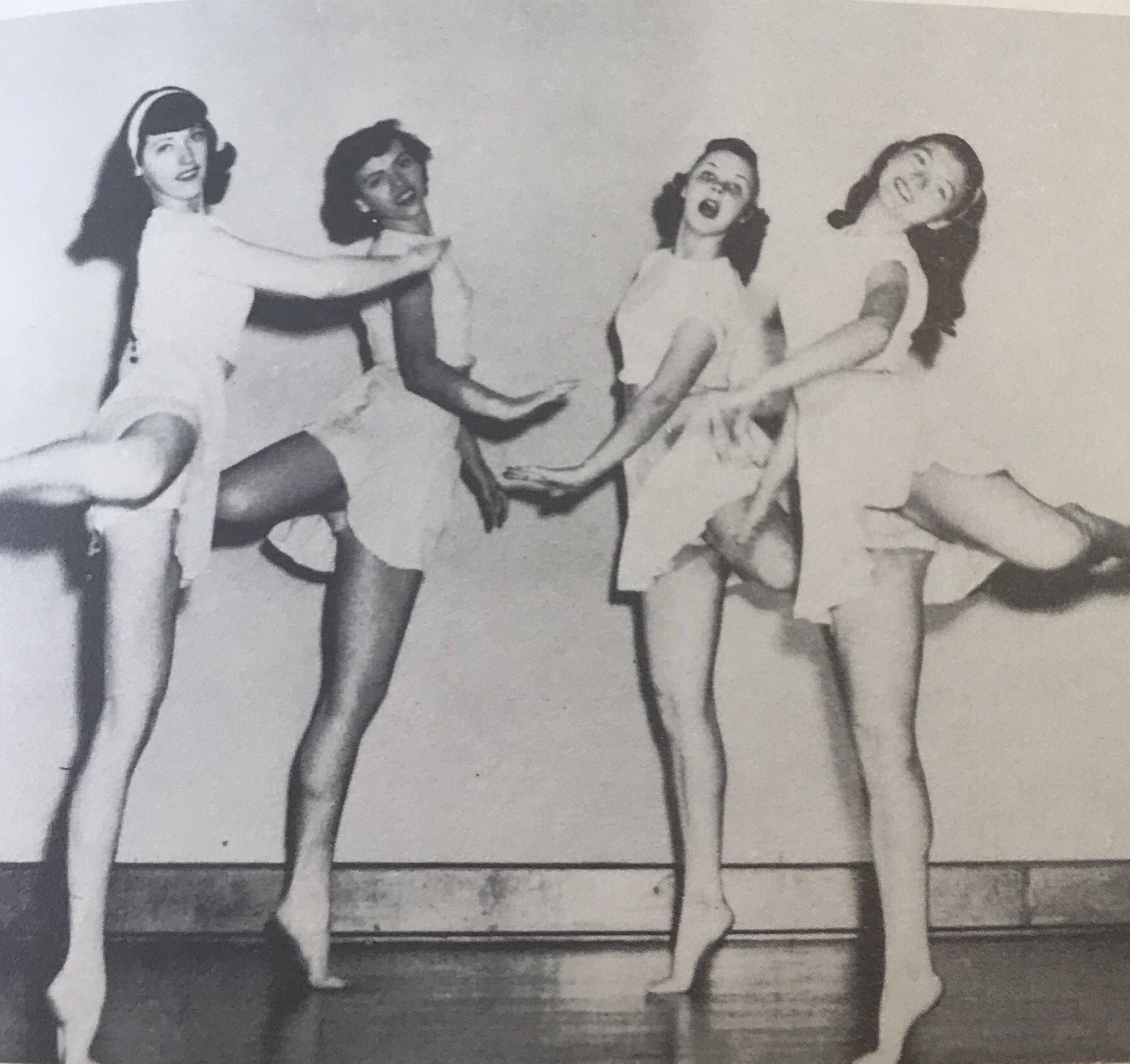Girls practicing for a dance in the Student Union in 1947. 