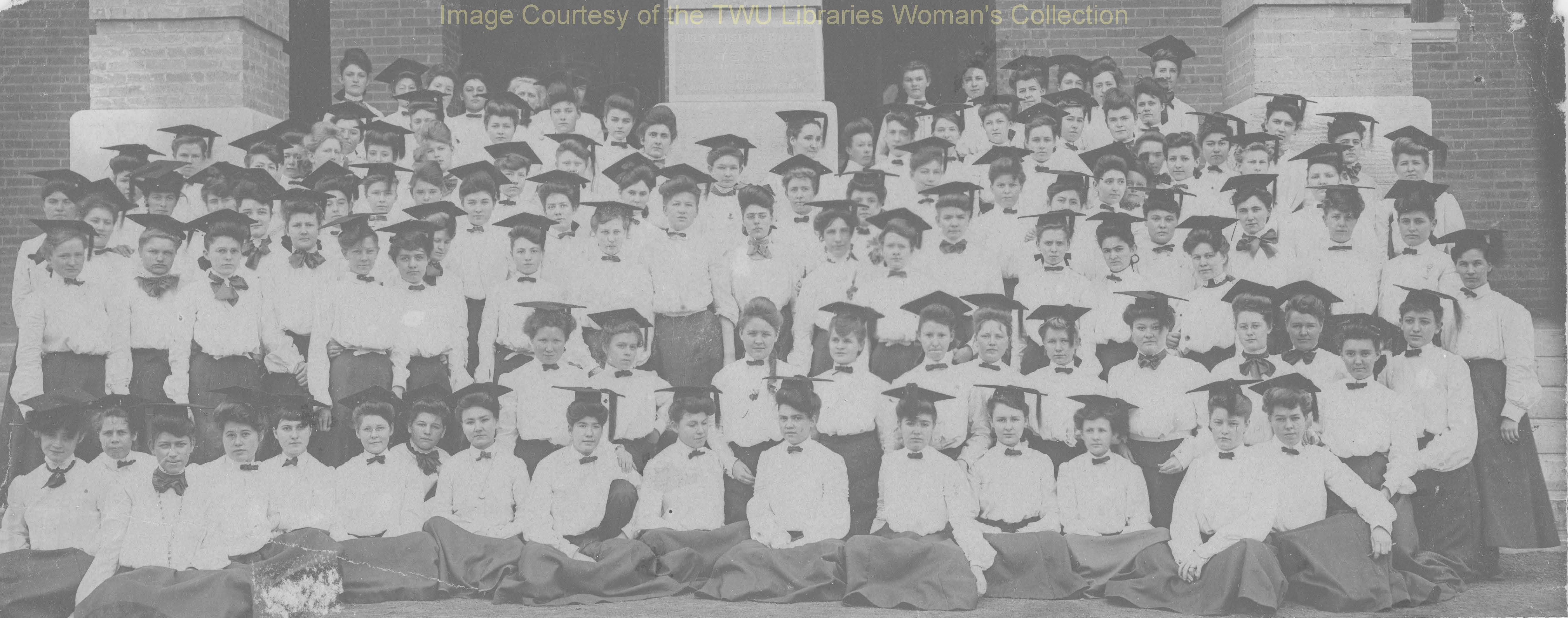 The first students of the Girls Industrial College wearing the required school uniforms on the steps of Old Main, 1903. The first year, only third-year or fourth-year high school students comprised the student body.  (Courtesy TWU Woman's Collection)