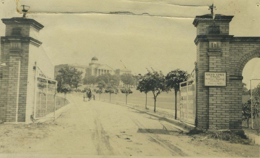 Early view of Old Main from the bygone entryway. In 1916 wings were added to accommodate the increased enrollment and recently expanded curriculum that made the school a degree-conferring institution. (Courtesy TWU Woman's Collection)
