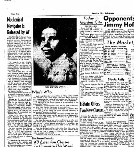 Irene Garcia Newspaper Clip