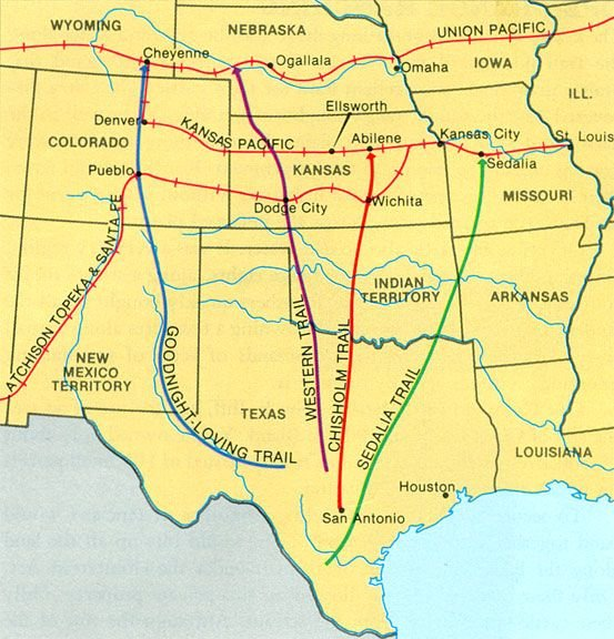 These are the different Cattle Trails in the midwest during the time. The Chisholm, Sedalia, Western, and Goodnight-Loving Trails all originated in Texas. The Rail Roads would transport the cattle north where they would be made into prime beef.