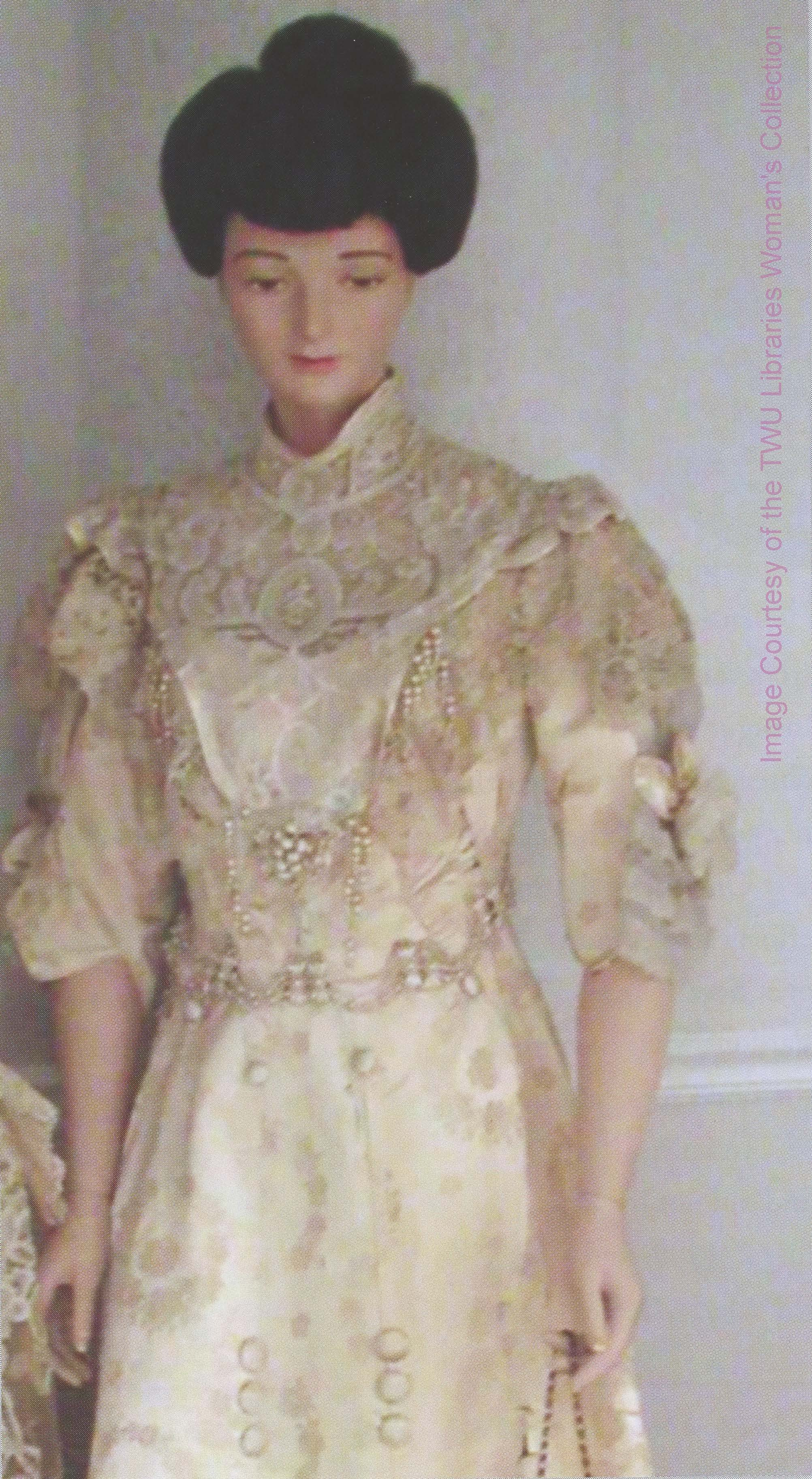 The Fannie Irene Bruner Campbell (1907-11) inaugural gown is made of white brocade satin, imported Duchess and rose point lace, and is in a remarkable state of preservation. Photo courtesy of the Woman's Collection, TWU.