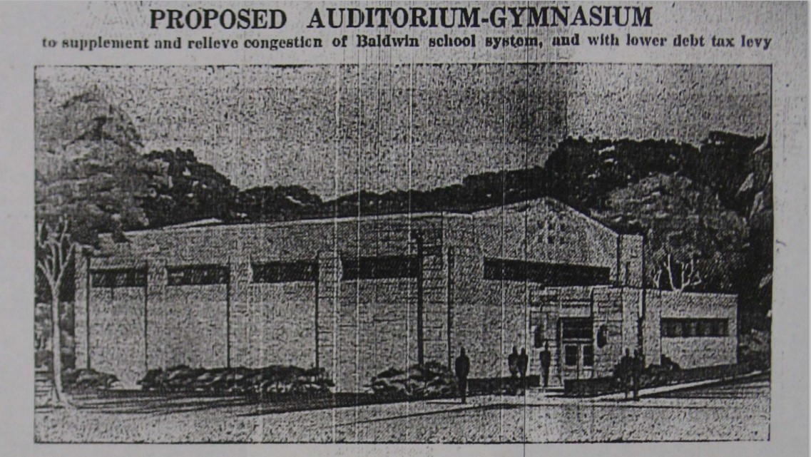 Artist's rendering of proposed auditorium-gymnasium in local newspaper ca. 1941 (Hernly 2014)