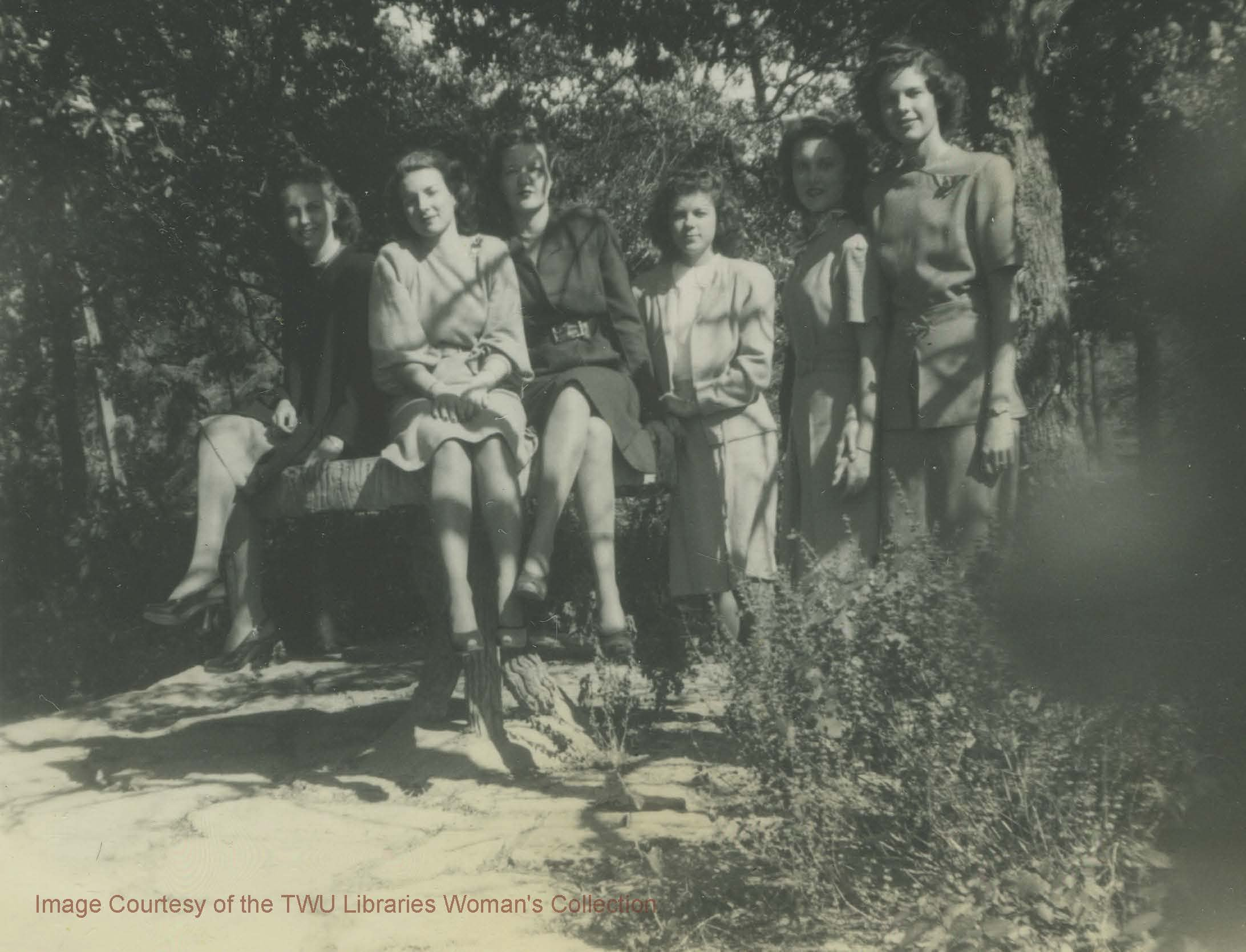A student group in the Botanical Gardens. The Gardens have always been a popular spot with students. (Photo: 1946-1947, Courtesy of the TWU Woman's Collection)