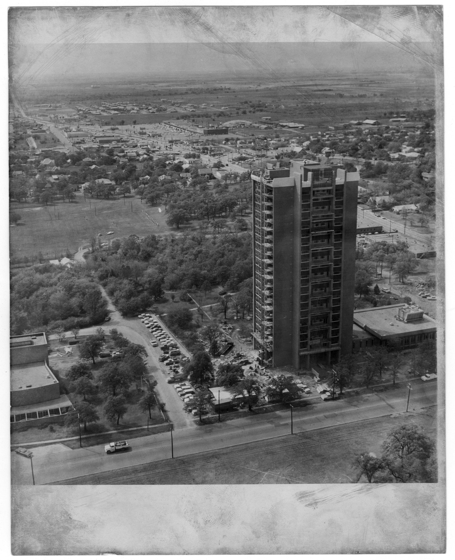 Stark Hall under construction (exact date unknown). Courtesy of University of North Texas Libraries and Denton Public Library.