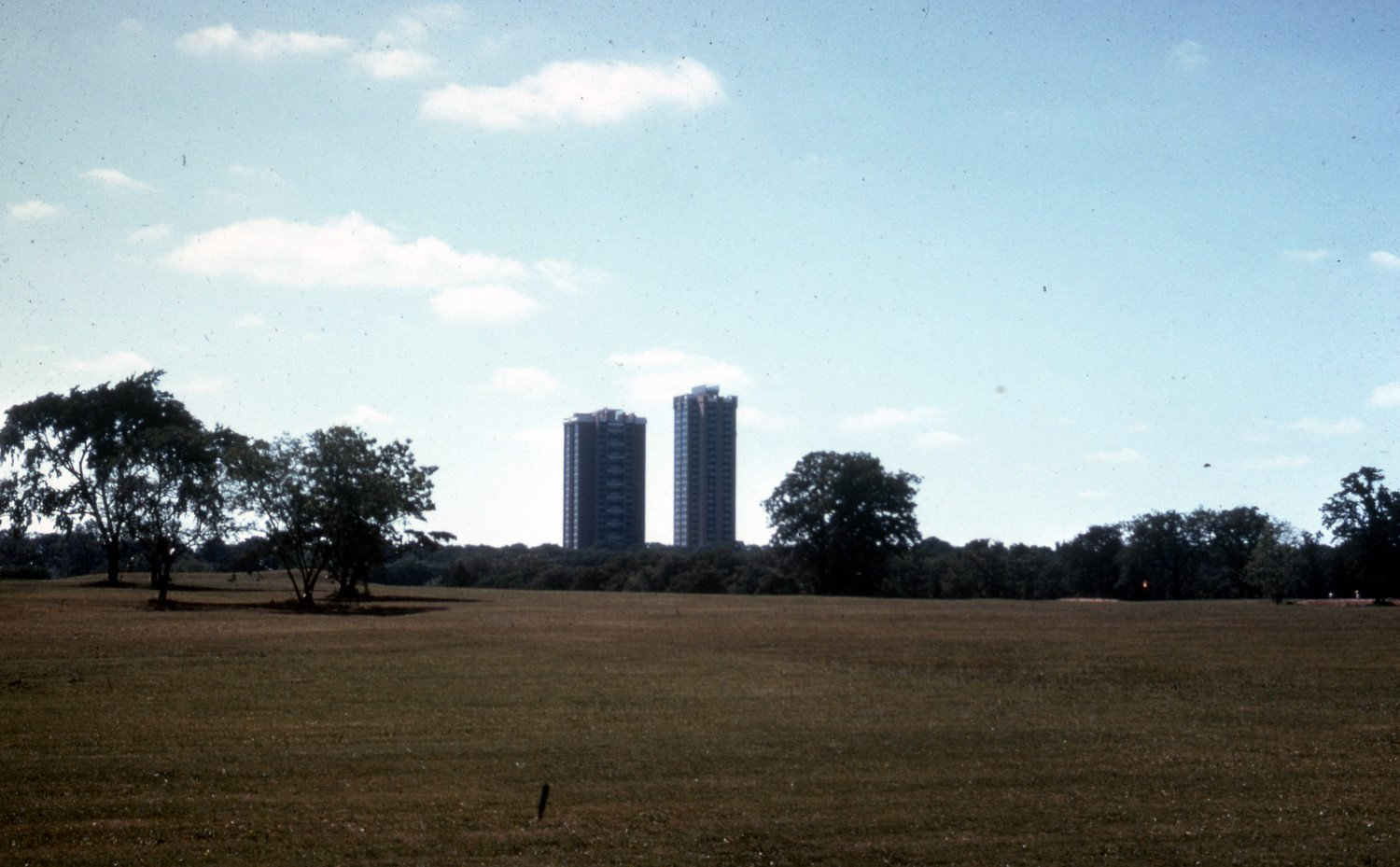Size comparison of Guinn Hall (right) compared to Stark Hall (left), 1978. Courtesy of University of North Texas Libraries and Denton Public Library.
