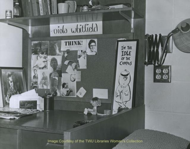 Inside a dorm room from the 1960s. Courtesy of the Texas Woman's University Woman's Collection.