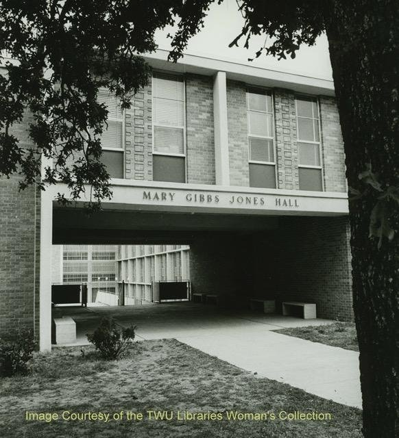 Outside of Jones Hall. Courtesy of the Texas Woman's University Woman's Collection
