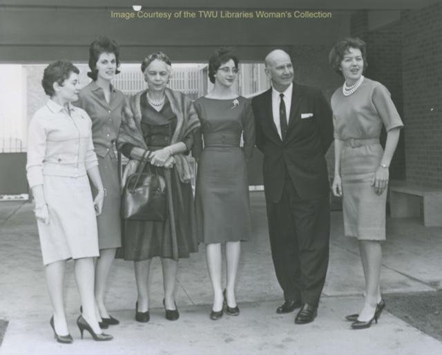 Jones Hall ribbon cutting ceremony photo which includes John A. Guinn the President of the University at the time. Courtesy of the Texas Woman's University Woman's Collection
