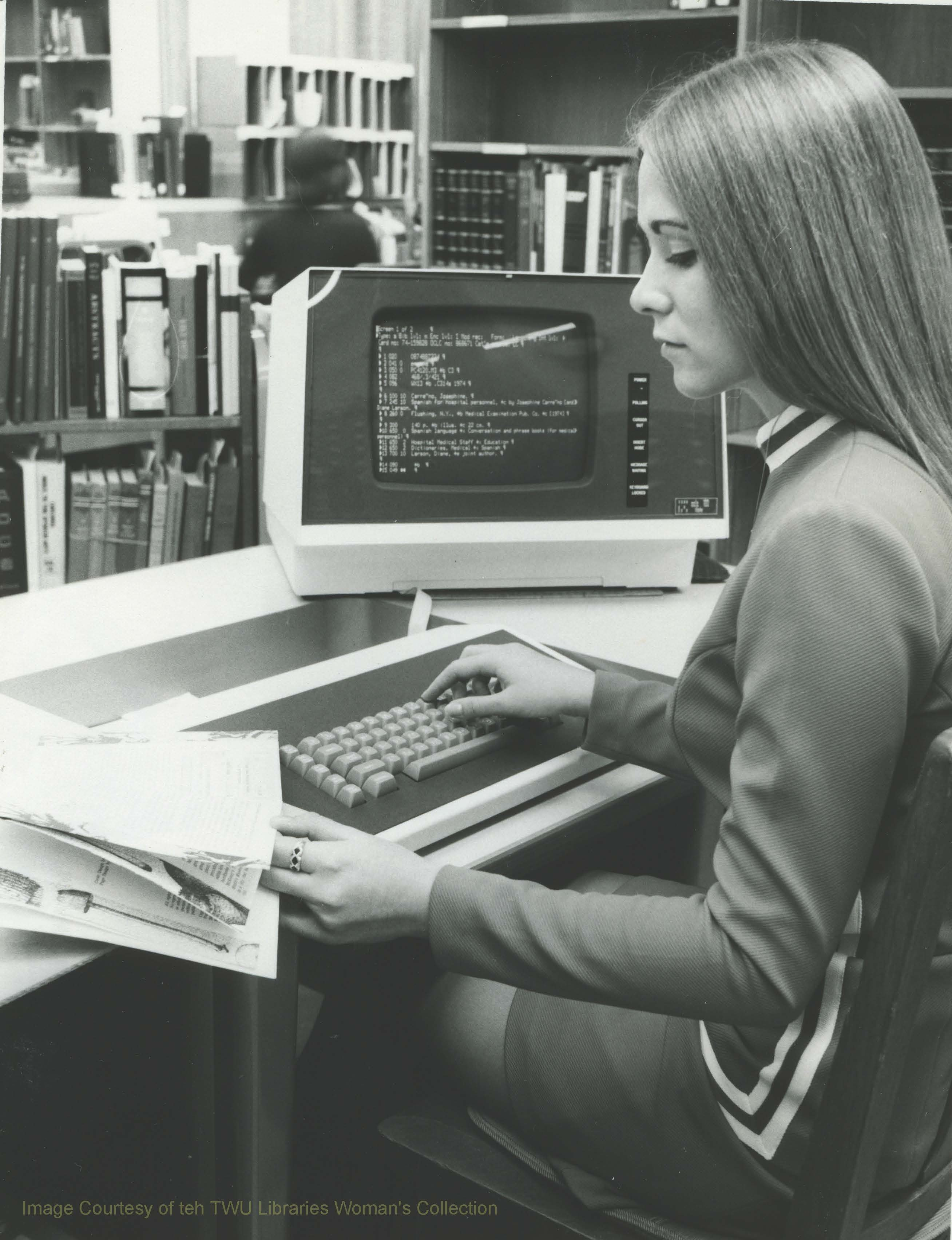 A TWU student studies at a computer terminal at Bralley Memorial Library. (Photo:1974, Courtesy TWU Woman's Collection)