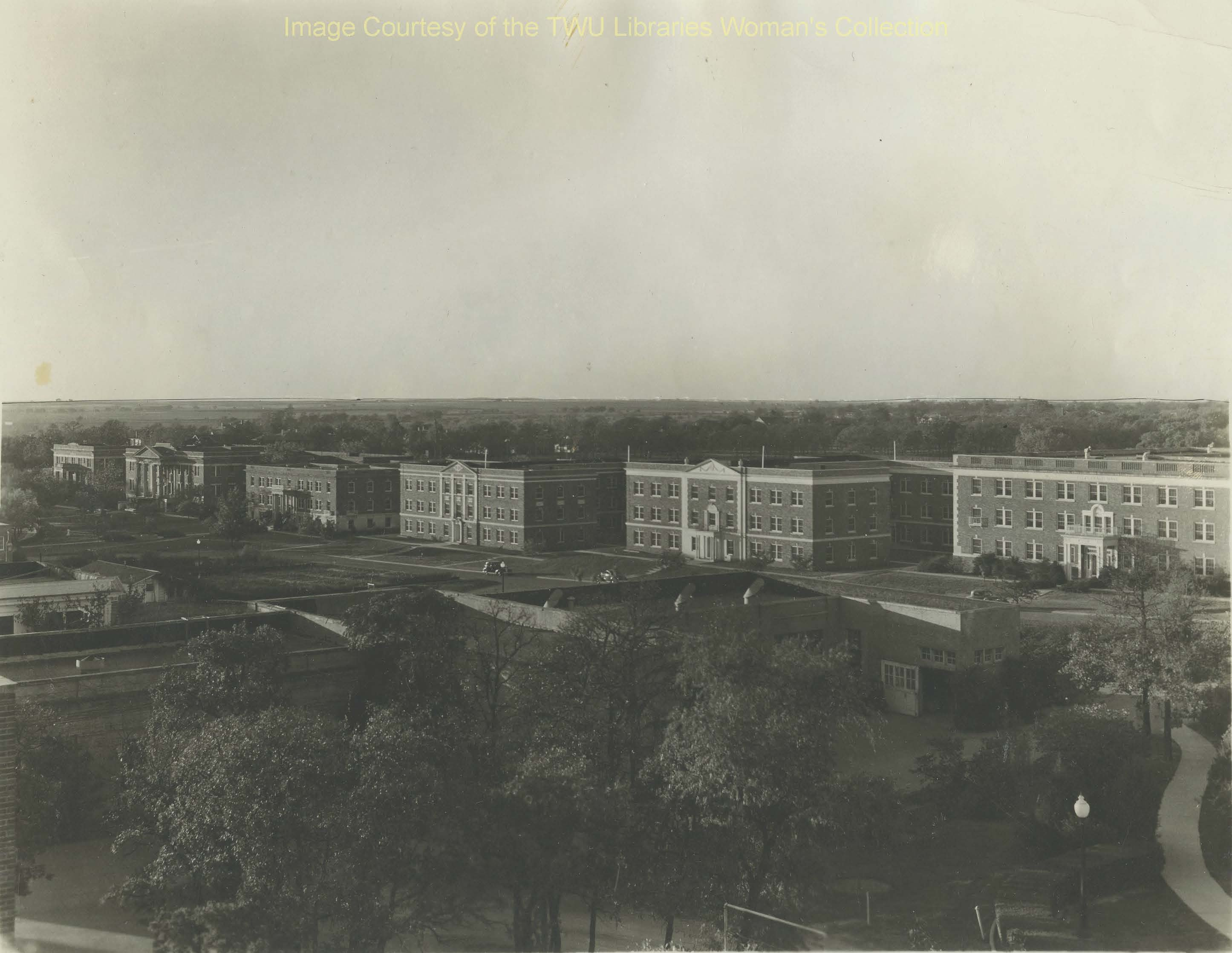 Dormitory Row, the complex of residence halls built along Oakland Avenue that were demolished to make room for the new Blagg-Huey Library. (Photo: Courtesy TWU Woman's Collection)