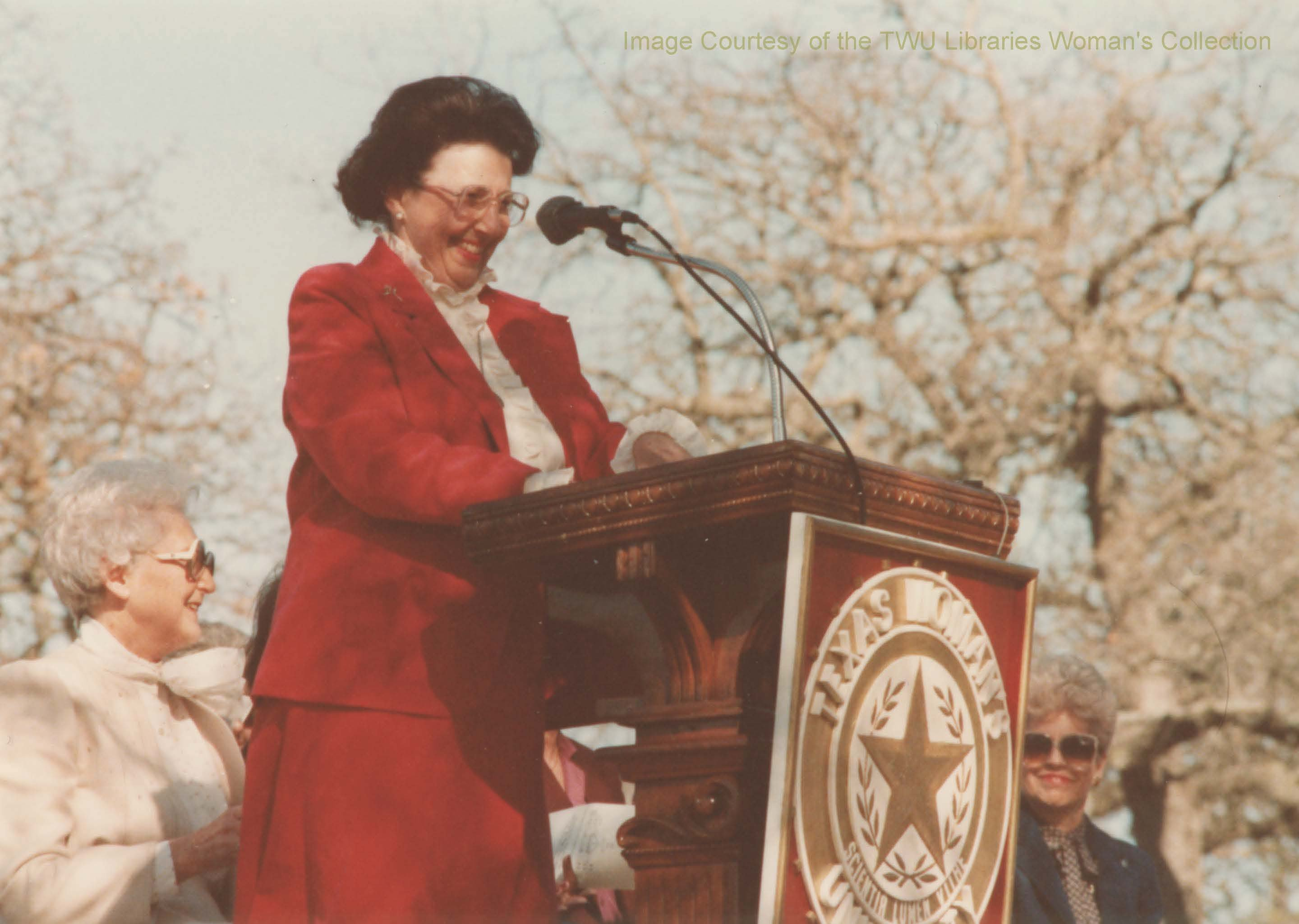 Dr. Mary Evelyn Blagg-Huey, Distinguished Alumna and first female president of TWU speaking at the library groundbreaking ceremony on February 16, 1984. (Photo: 1984, Courtesy TWU Woman's Collection)