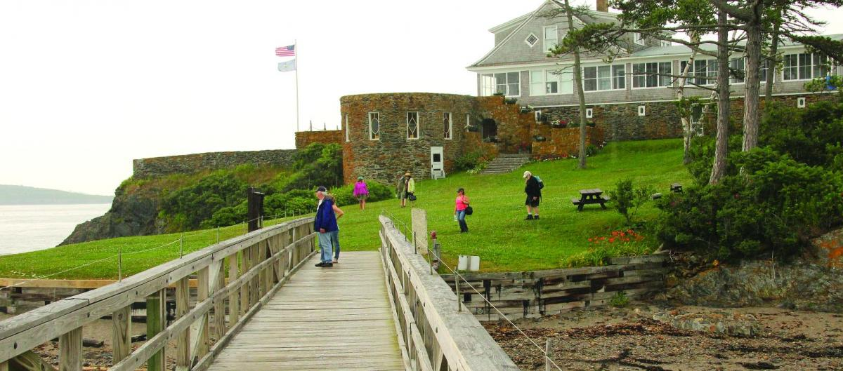 A view of Peary's former home on Eagle Island from the pier where visitors arrive.