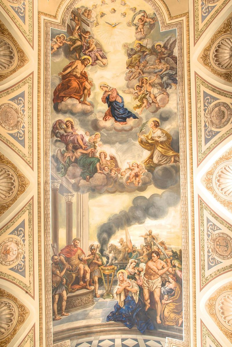 Murals on the ceiling, above the nave.