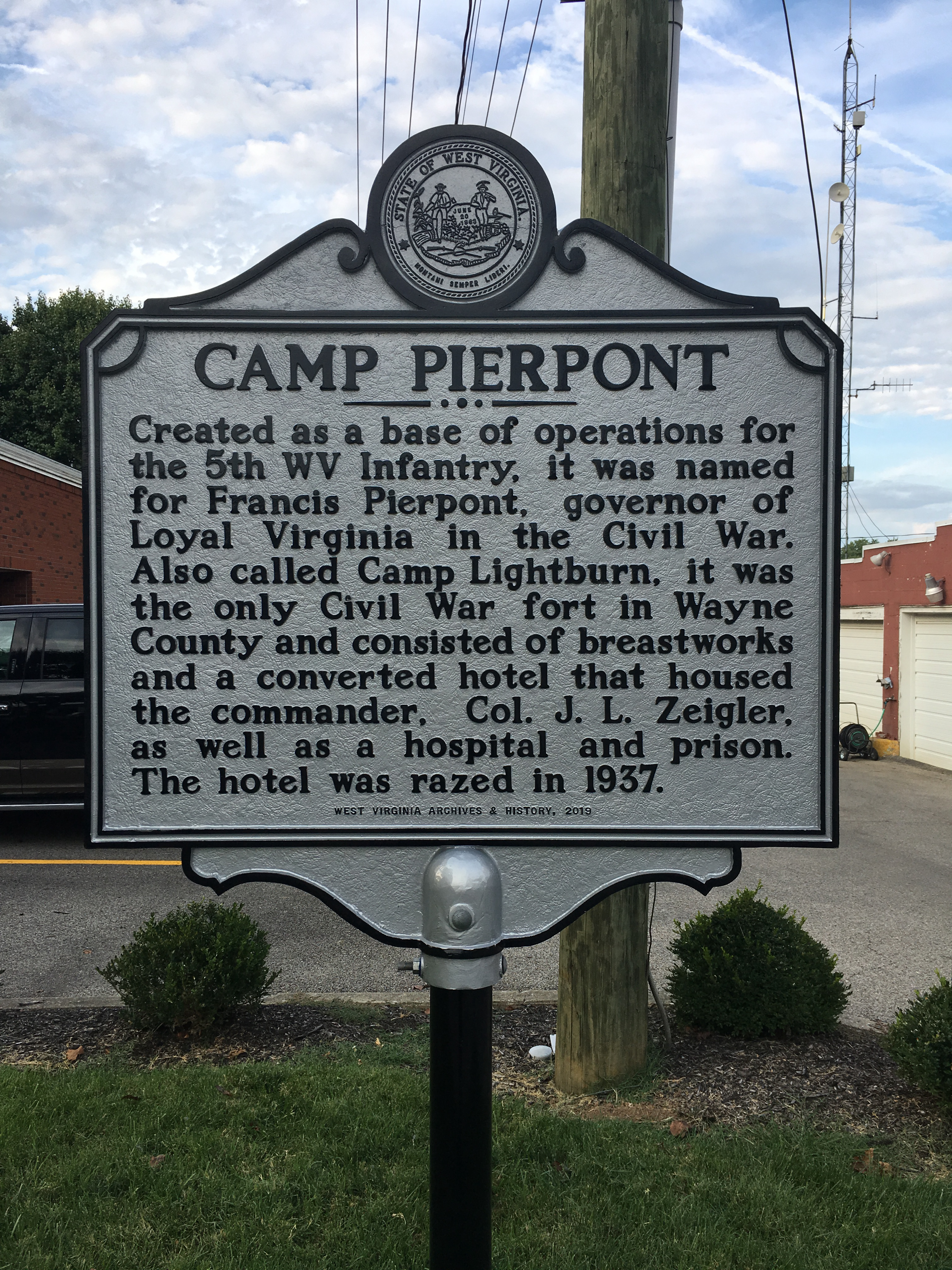 This historical marker commemorating Camp Pierpont was placed beside the municipal building in 2019.