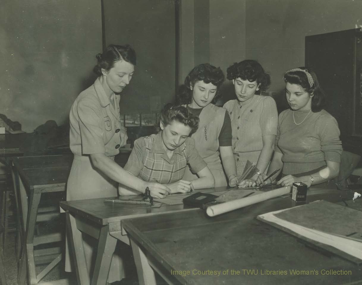 Students working on design plans for the Chapel under the supervision of Dorothy Laselle circa 1938. These students and over three hundred others were responsible for the artistic design and decoration of the Chapel. (TWU Woman's Collection)