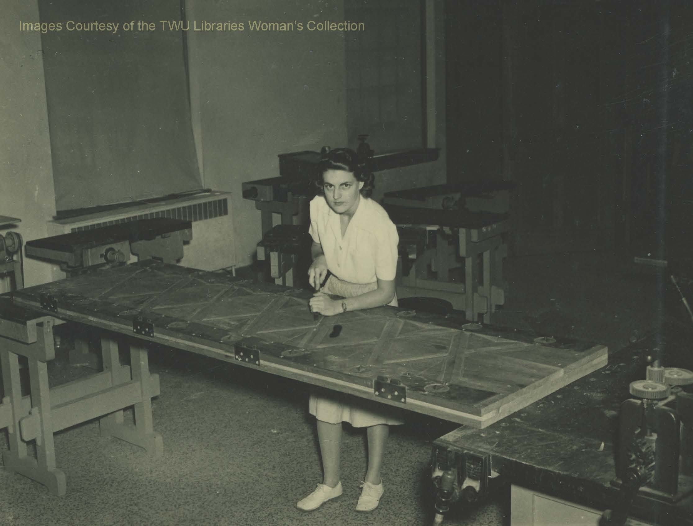 Student Carmetta Drummond hand-carving one of the Little Chapel's doors. (Courtesy of TWU Woman's Collection)