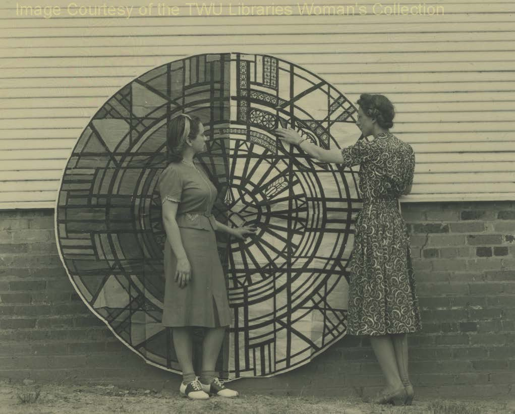 "Dorothy ""Toni"" Laselle and Marilyn Yates in front of the Rose Window of the Little Chapel circa 1939. This window and the others were all fired, painted, and constructed on campus. (Courtesy of TWU Woman's Collection)"