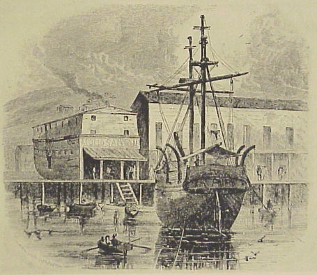 An illustration of the ship Niantic, after being hauled ashore.