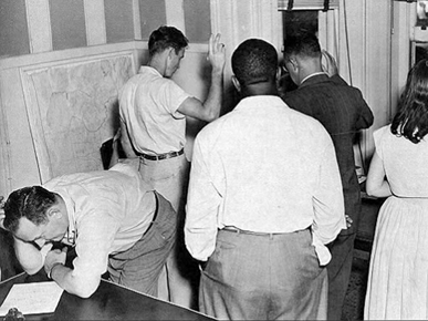 Prospective voters registering at the Mobile County Board of Registrars, 1949