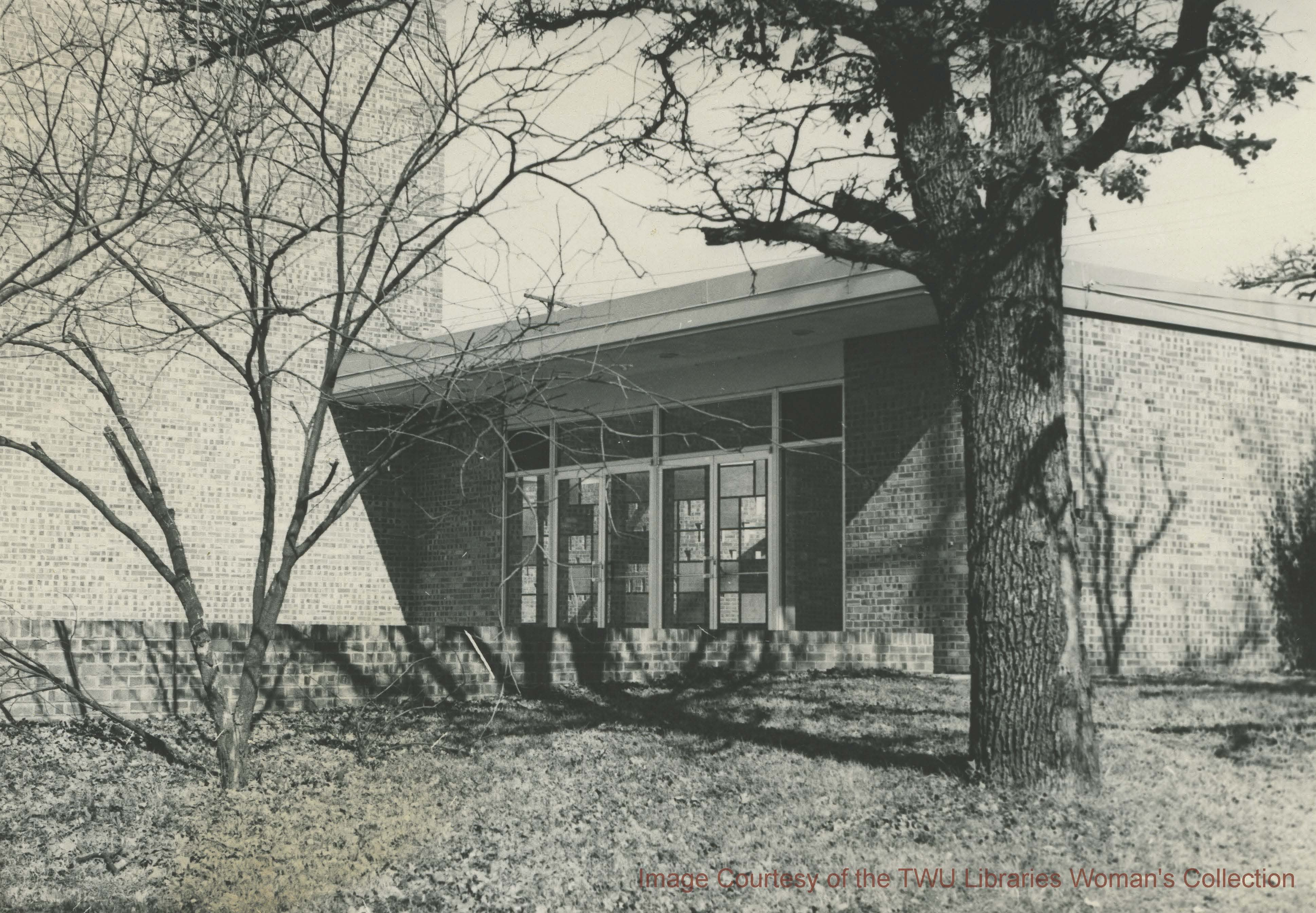 One of the main entrances to the old Redbud Auditorium Building. -Courtesy of TWU archives.