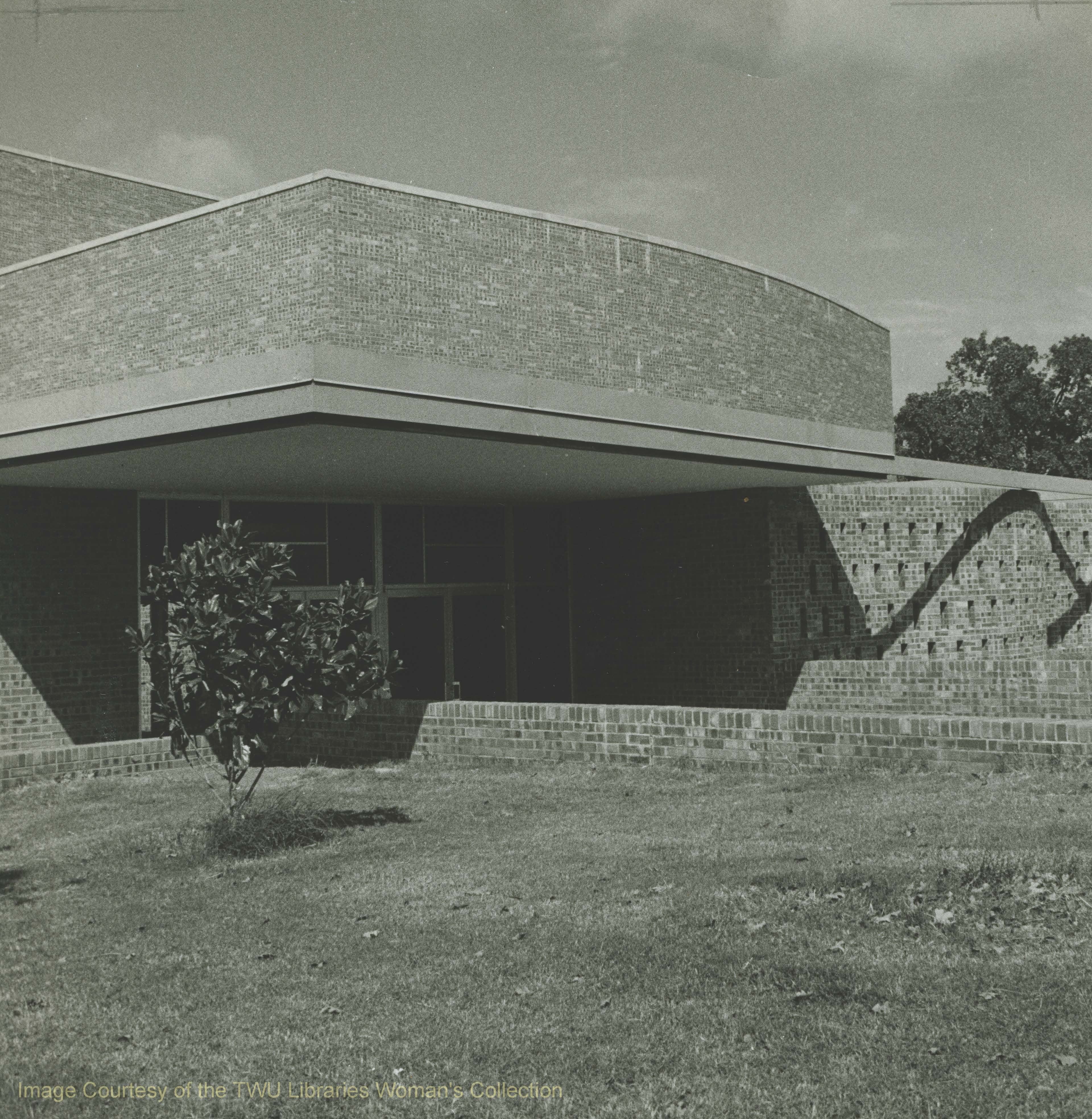 Redbud Auditorium entrance located on Bell Avenue.  -Courtesy of TWU archives