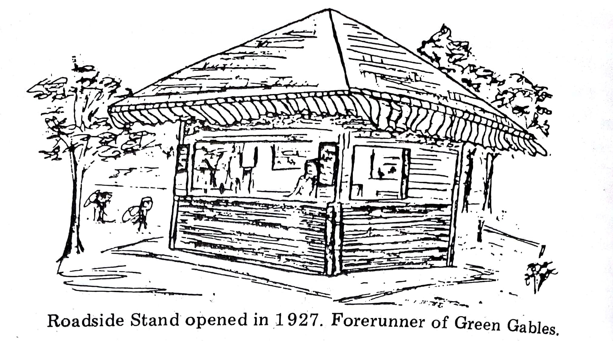 Artist's rendering of the original sandwich stand. From The History of Jennerstown