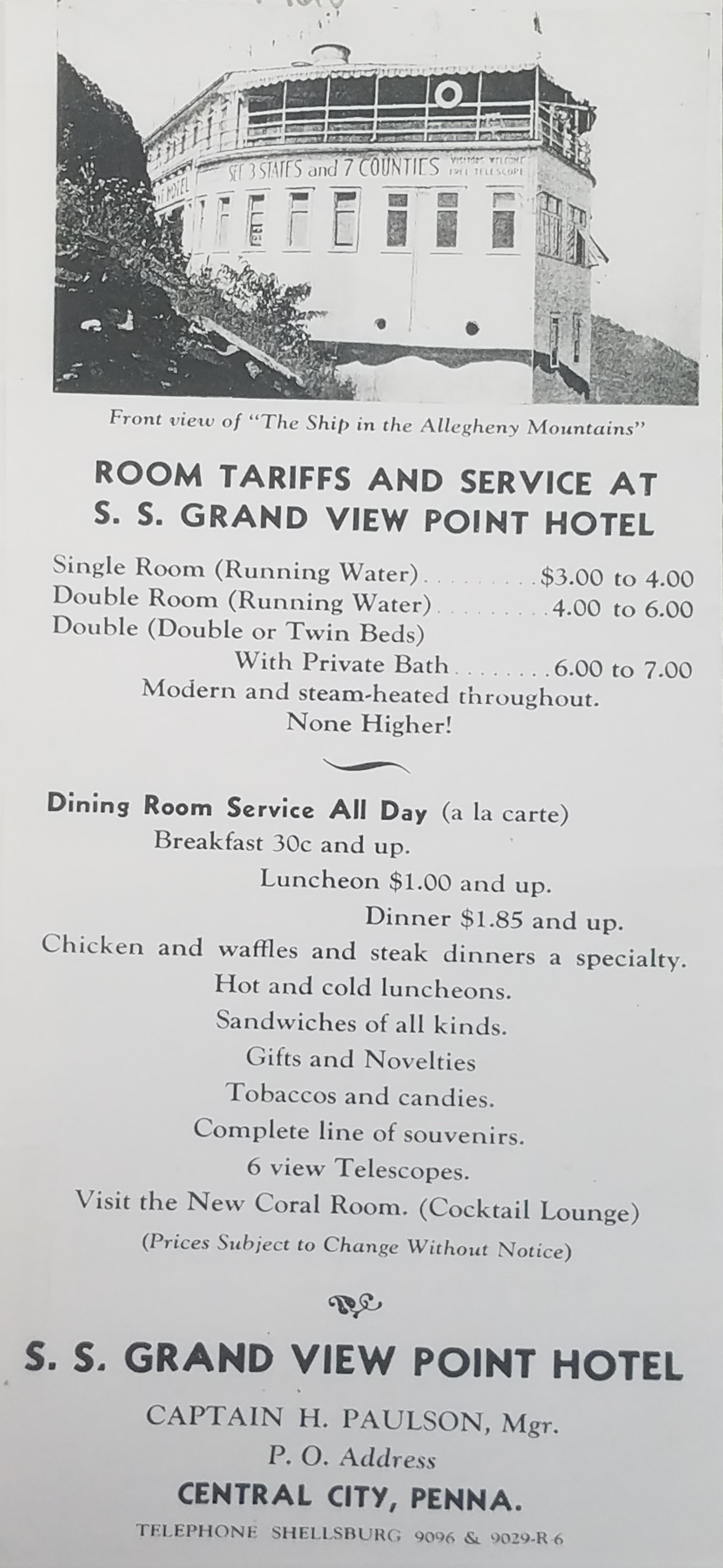 A list of amenities provided by the ship hotel. Photo courtesy of the Lincoln Highway Heritage Corridor.