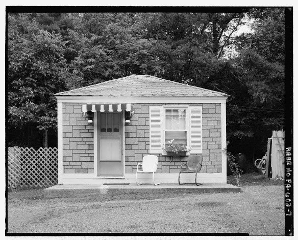 """""""Our cottages have been kept as orginal as possible architerally inside and out. We also furnish them with period quilts, radios, dollies, pics, suitcases, various period nic nacs and period clothing."""" -Debbie Altizer"""