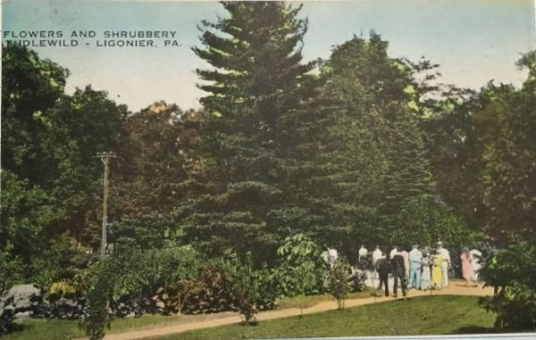 "A post card from 1939 depicting the ""Flowers and Shrubbery"" of the Park. By the late 1930s, the Park had just begun to become an amusement park. The appeal of being in the country was still one the main attractions at this time.