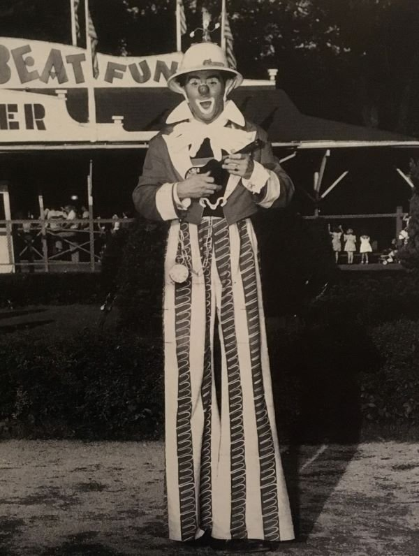 A shot of Arthur Jennings as his clown persona, Happy Dayze. Not only did Jennings create the concept for Story Book Forest, but he also spent many hours on site surveying, designing, and building the actual attraction.