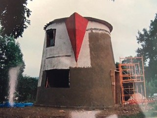 The Coffee Pot had many missing parts rebuilt and a new foundation for it as it was getting prepped to sit on the Bedford Fairgrounds.