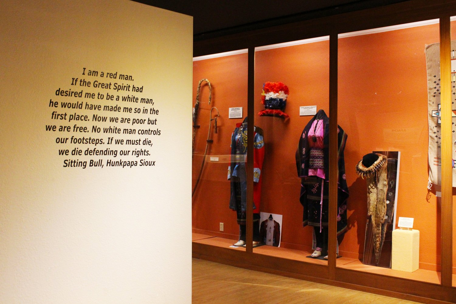 A wall located inside of the museum with a quote from Sitting Bull.