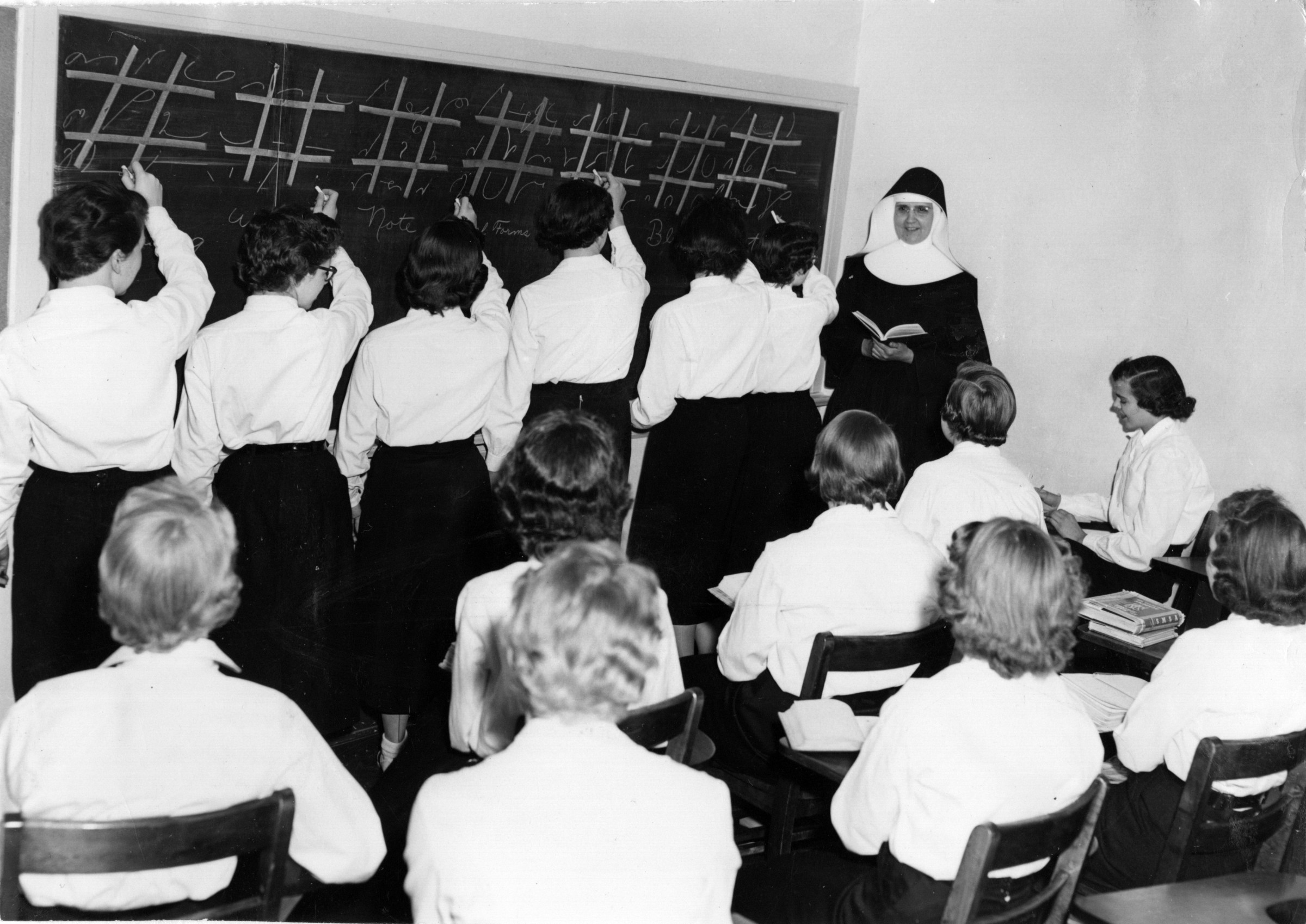 Shorthand class in the 1950s at St. Mary's Springs Academy.
