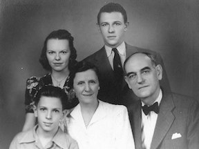 Family portrait of President Luis Hubbard and his family. President Hubbard is to the right, his wife, Bertha Hubbard is in the center and his children. (Picture by Texas Woman's University)