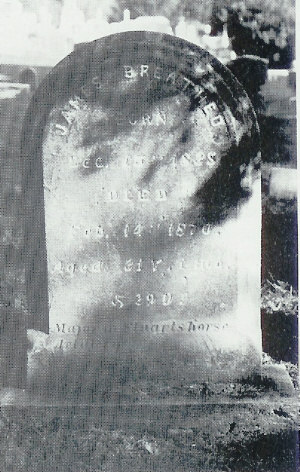 Dr. James Breathed's gravestone in Saint Thomas' cemetery, the epitaph of which has since faded, making the quote attributed to Confederate General Robert E. Lee illegible. Courtesy of Find-A-Grave.com.