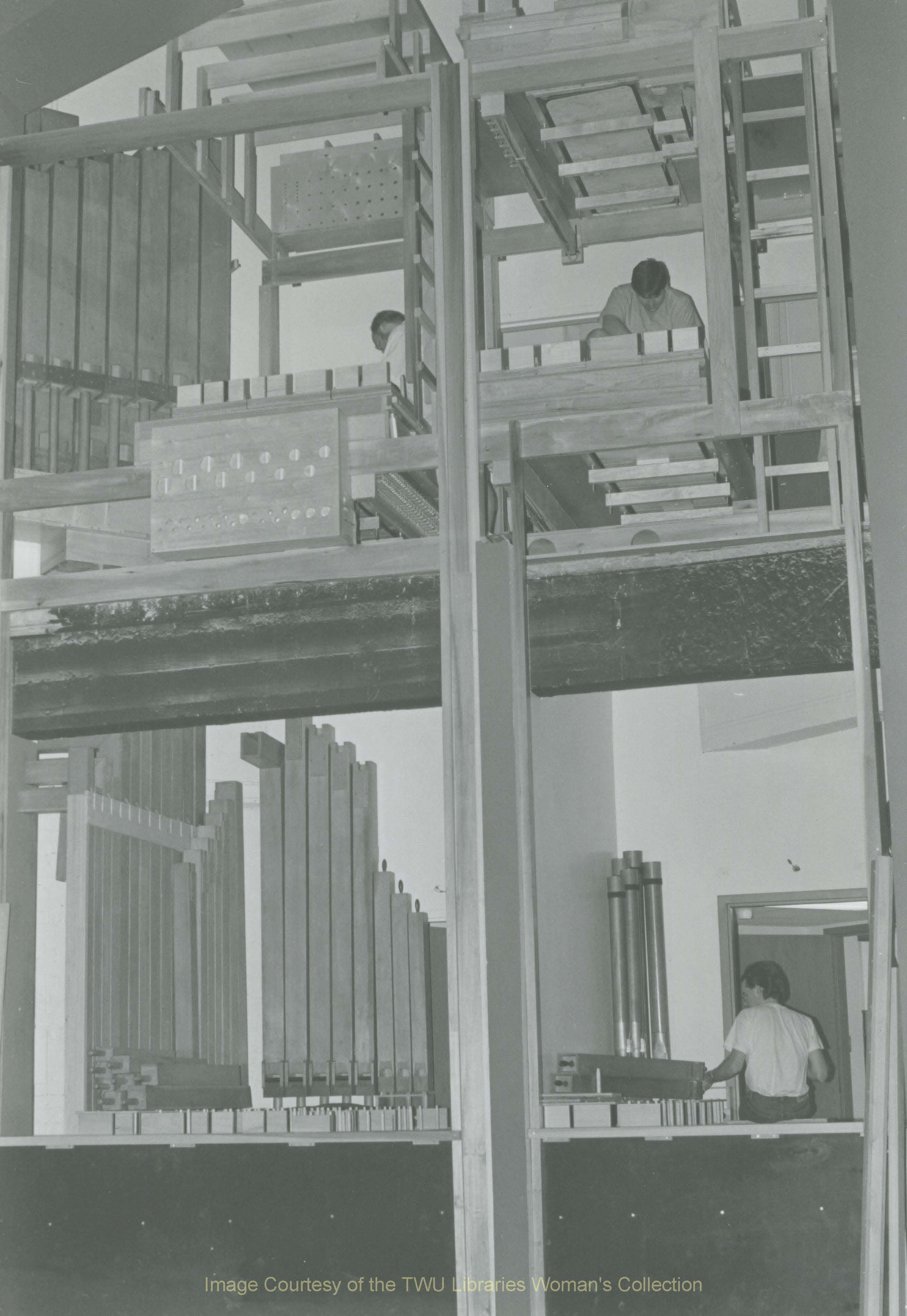 Building of the pipe organ in the Music Building. Unknown Date.  Courtesy of the Texas Woman's University Woman's Collection