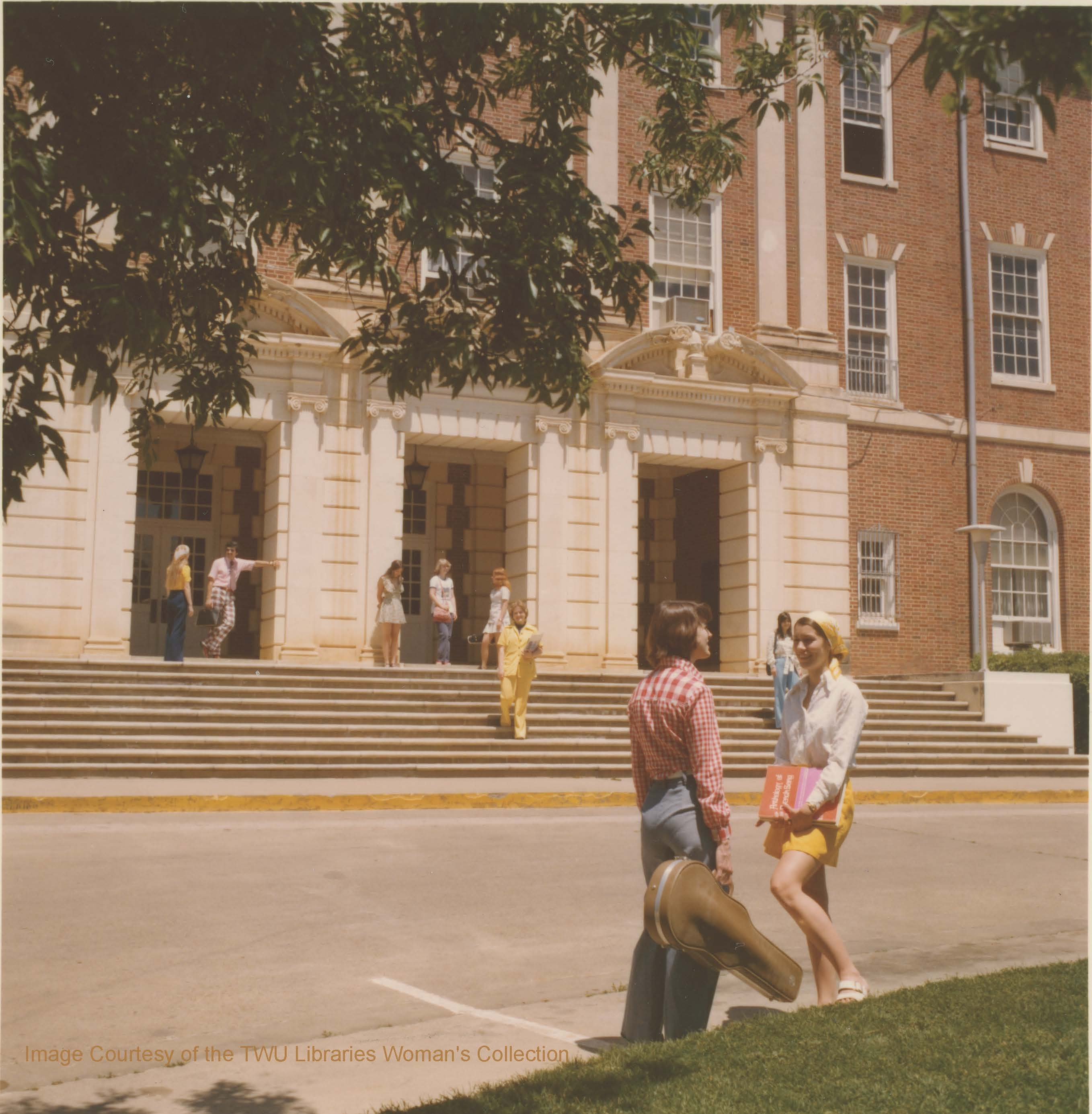 Students outside TWU Music Building Circa 1970s. Courtesy of the Texas Woman's University Woman's Collection