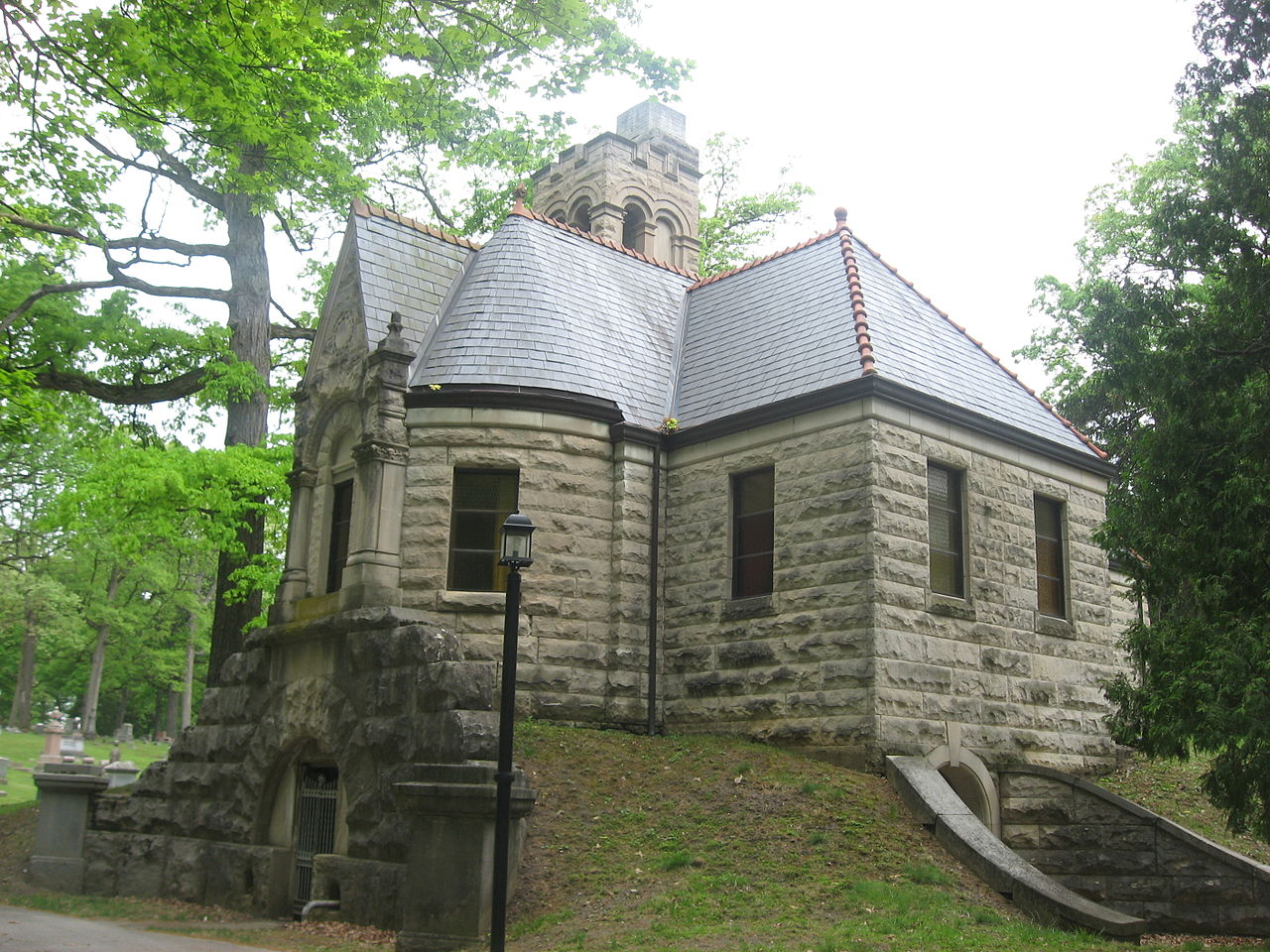 Lindenwood Cemetery was founded in 1859 and was designed to be a park-like setting. This chapel was built in 1895.