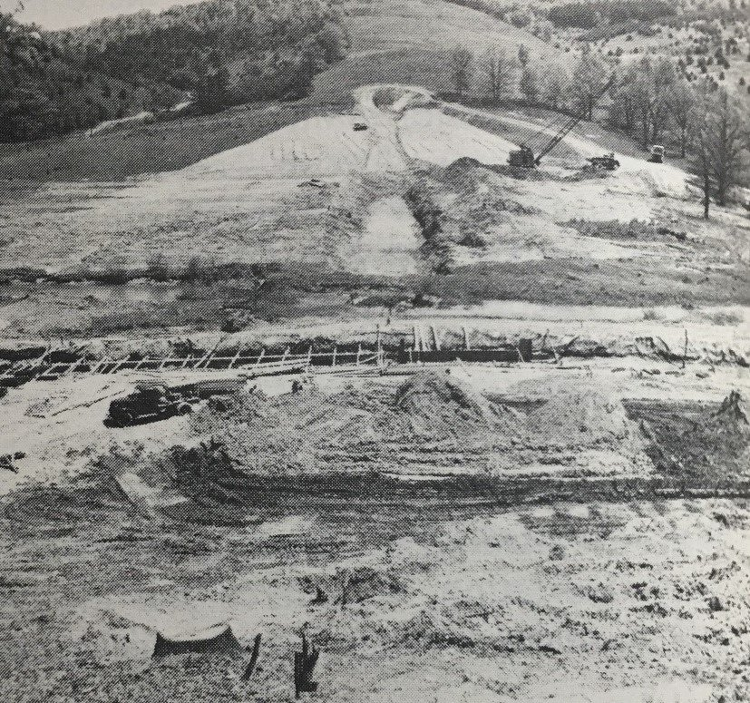 The Building of the dam, May 12, 1949, that created what is now known as Shawnee Lake  (Lincoln Highway Heritage Corridor Archives).