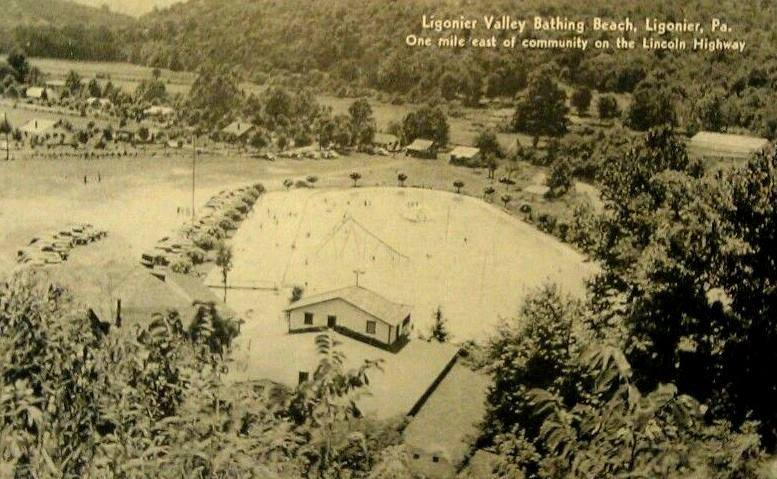 Ligonier Beach under construction in it's early years.  Showing its vast pool open to the entire community.
