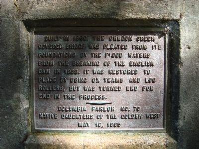 Oregon Creek Covered Bridge Historical Marker