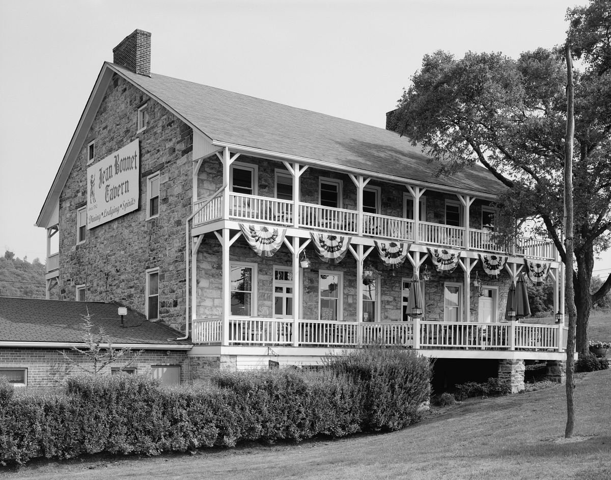 A side view of the Jean Bonnet Tavern taken in 2005.  Courtesy of Wikipedia.