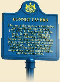 Here is the historical market that sits in front of the tavern.  It gives a short history of what occured during the Whiskey Rebellion.  Courtesy of explorepahistory.com